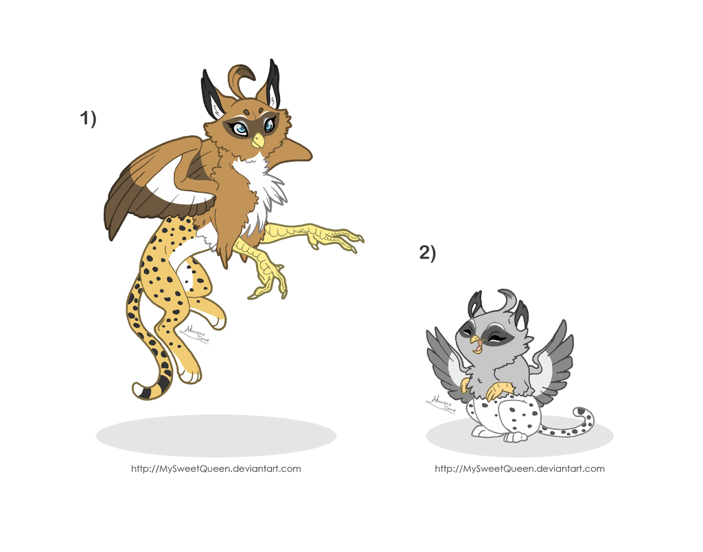 [Sold] Adoptables: Griffipards by MySweetQueen