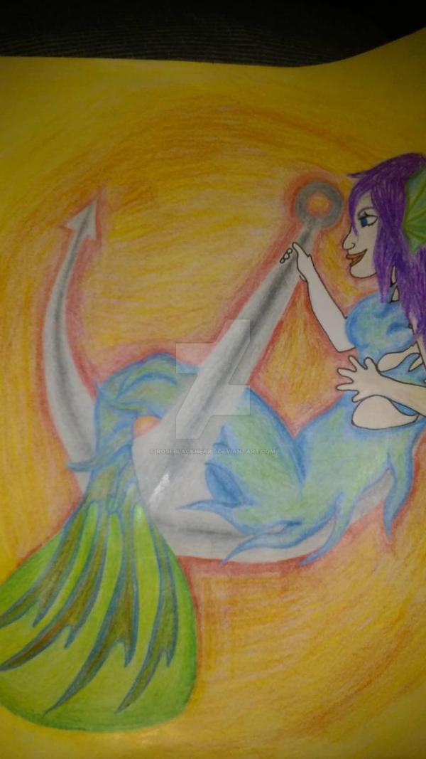 mermaid on an anchor by RoseBlackHeart