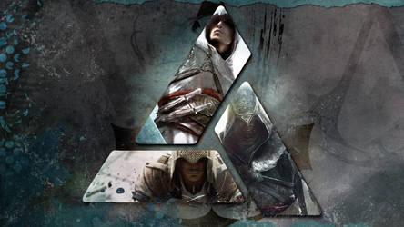 Assassins Creed Wallpaper: Altair, Ezio, Connor by saphira-wine