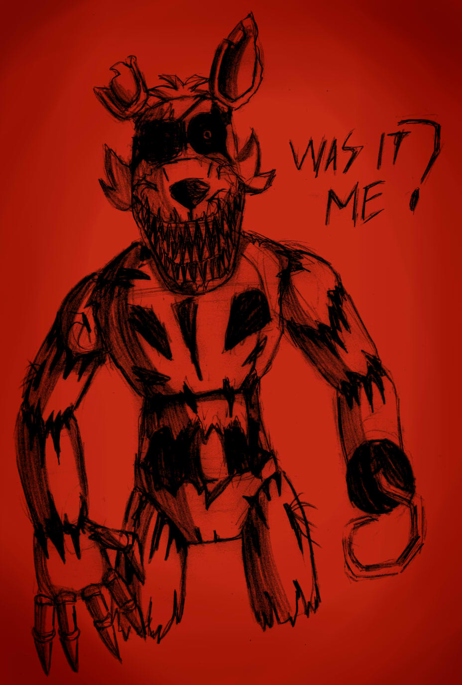 This is a photo of Zany Nightmare Foxy Drawing