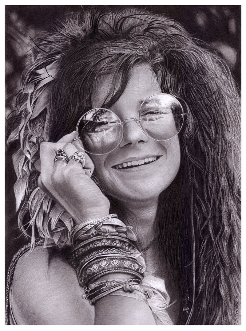 This is a graphic of Epic Janis Joplin Drawing