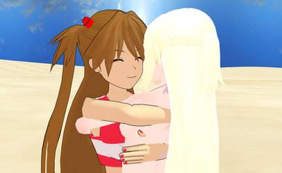 Asuka hugs Sarah 2