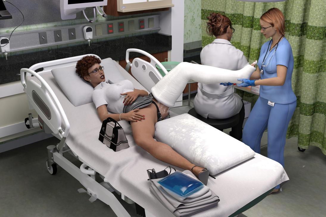 Man With Broken Leg In Hospital Bed