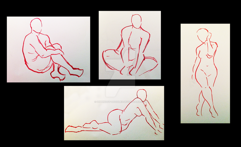 Gesture Drawings 1-5 mins by DippinDot-Doodles