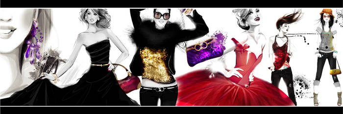 fashion collage bw color