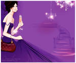 purple gown fashion illustrati