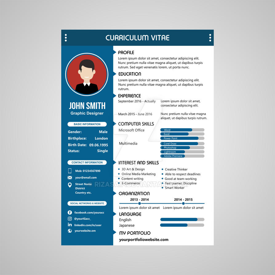 modern blue cv template design by rizasaif on deviantart