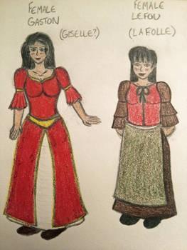 Genderbent Gaston and Lefou