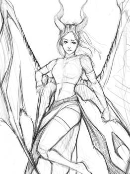 Sketching A Draconian Succubus