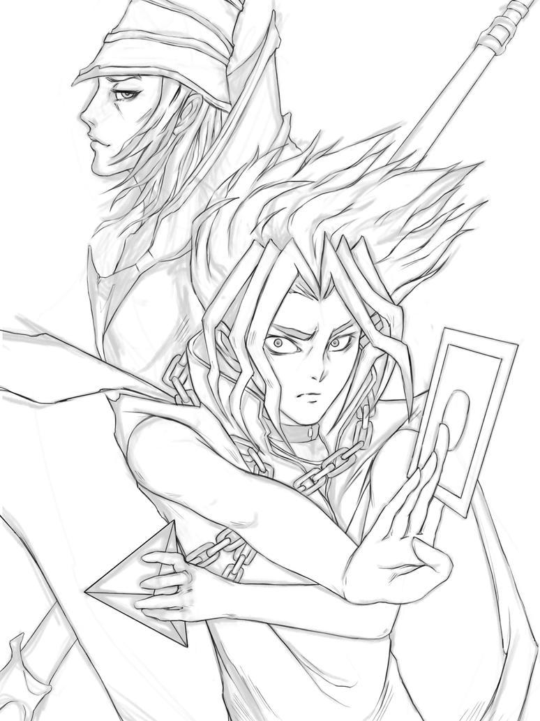 Linework Yugi  Dark Magician by Whatneyesore