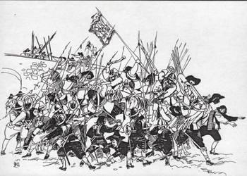 Battle in fron of a bridge by TaoDragon
