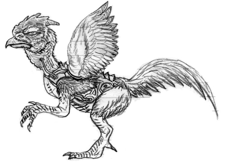 Cyborg Rooster Kaiju Sketch by CosbyDaf