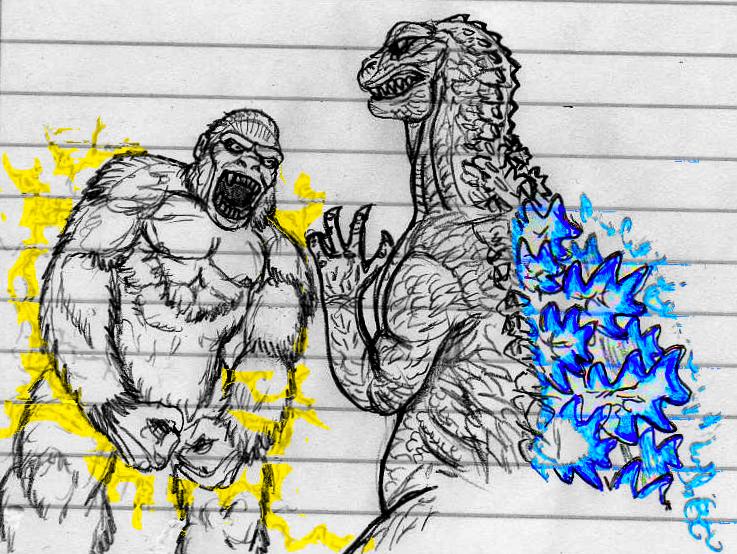 King Kong vs Godzilla sketch by CosbyDaf on DeviantArt
