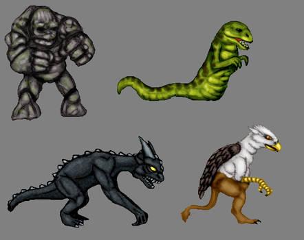 Golem,Wyrm,Gargoyle,Griffin Color Concepts