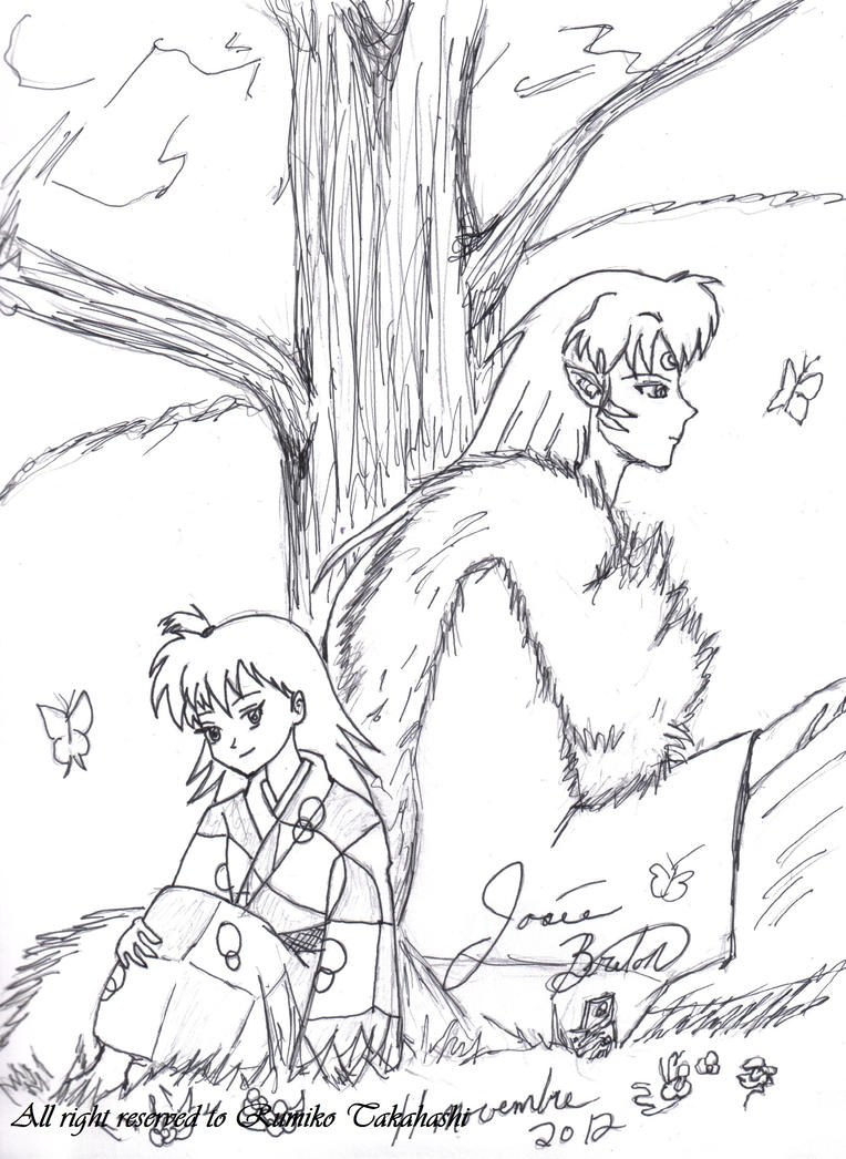 Sesshomaru And Rin With Butterfly Made Ink By Jojofanart
