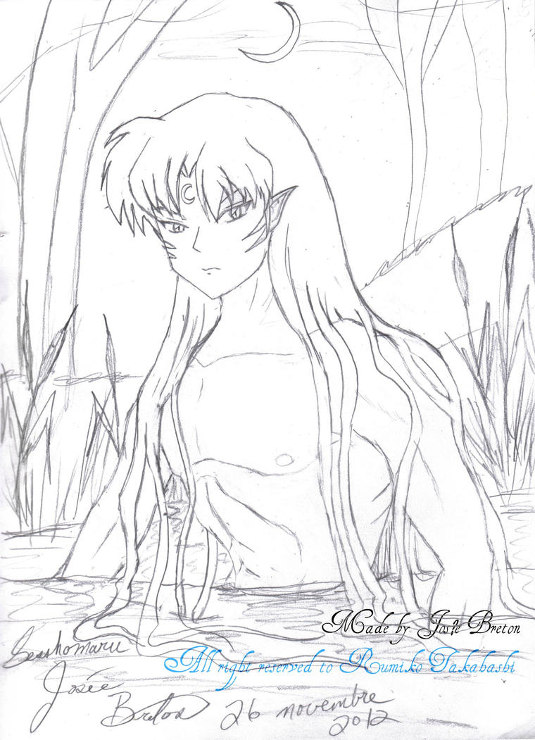 Sesshomaru Take A Midnight Bath On River By Jojofanart