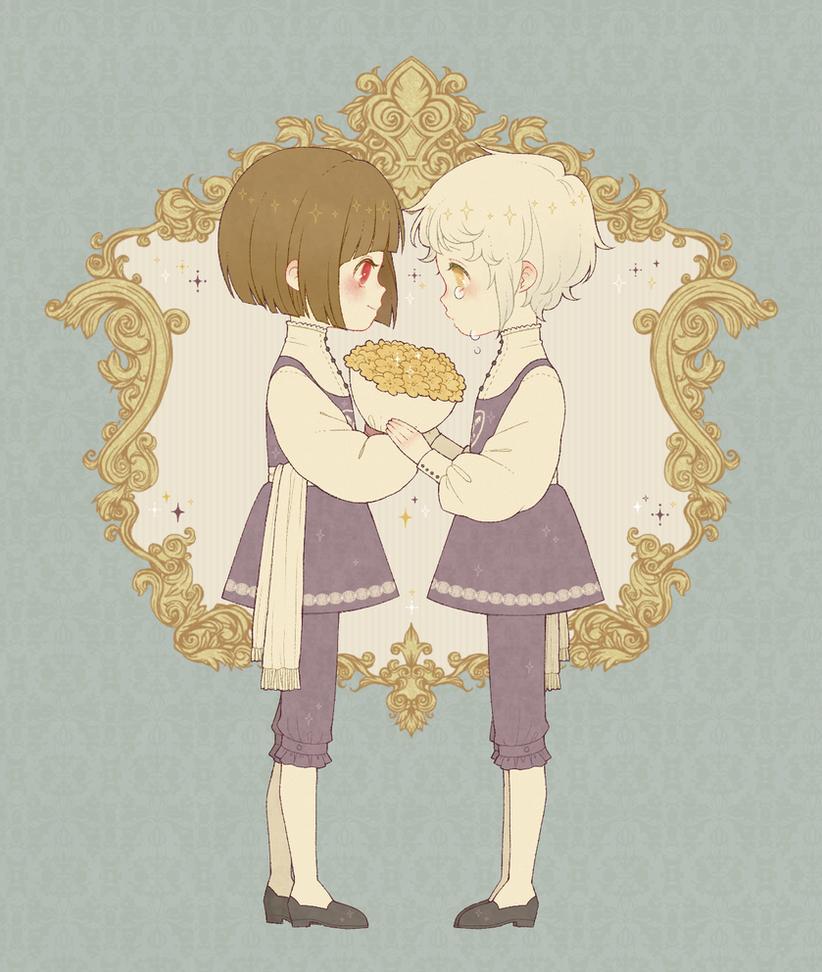 Royals Chara and (human)Asriel by yukiko-onna