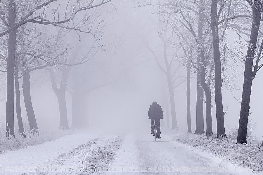 Lonely Biker on a Freezing Morning by thrumyeye