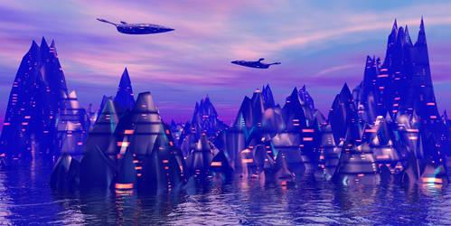Rosy dawn cybercity by AngeloVentura