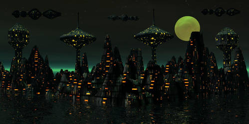 Futuristic City Night by AngeloVentura