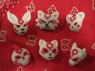 Okami(den) brooches by Sherval