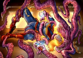 Captain Marvel Feeds Her Flerken by nytecomics