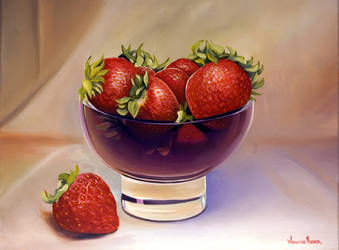 Strawberries in a Purple Glass Bowl