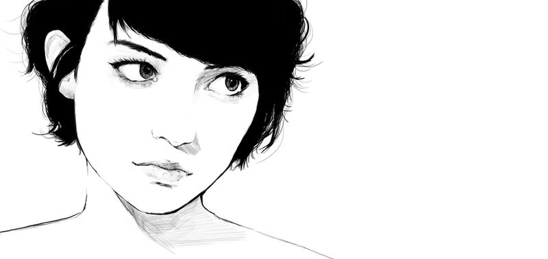 short hair girl by Tim-lee