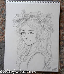 Christmas Holly Sketch by EssieofWho