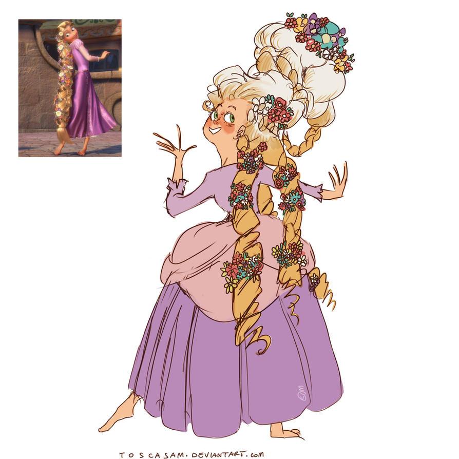 XVIII century Rapunzel - sketch by ToscaSam
