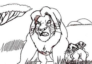 Mufasa protecting Simba and Nala Rp Sketch by FaPingMulan
