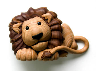 Faux Wood Lion