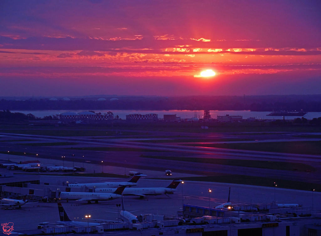 Sunrise at the PHL Airport by FauxHead