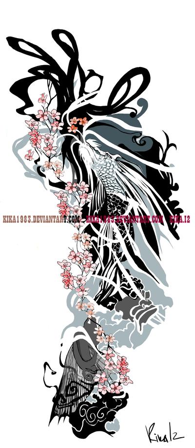 Cherry blossom koi dragon-commission by kika1983