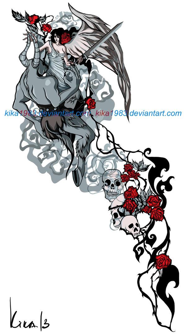 Angel vs Minotaurus tattoo-commission by kika1983
