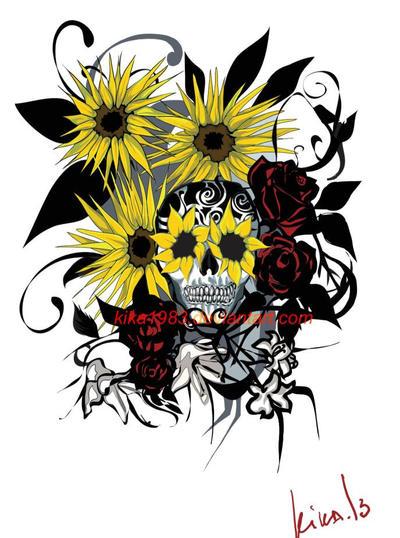 Sugar Skull Tattoo-comission by kika1983