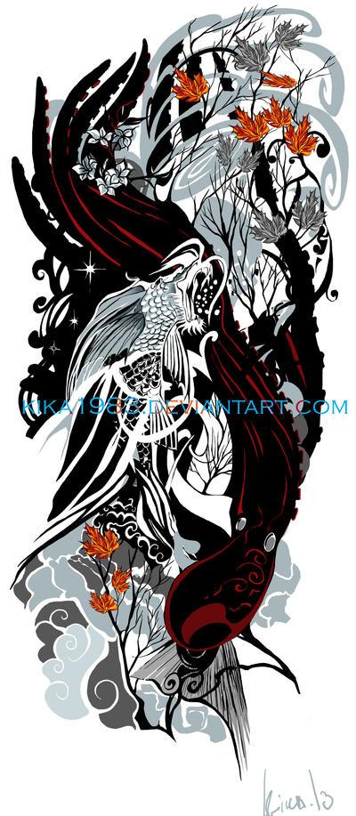 Koi dragon and octopus by kika1983