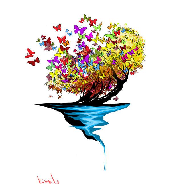 Butterflies tree tattoo-commission by kika1983