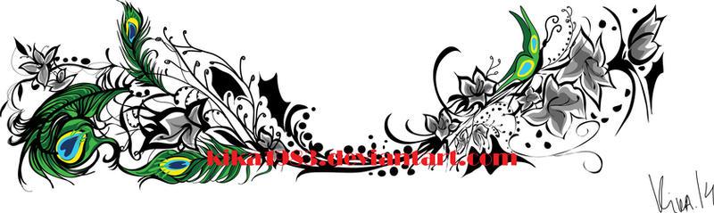Floral peakock- tattoo commission by kika1983