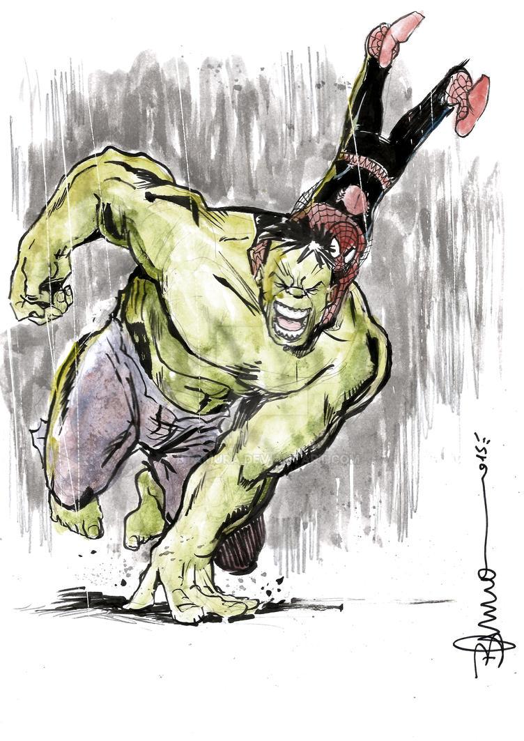 Hulk and spidey by btamura