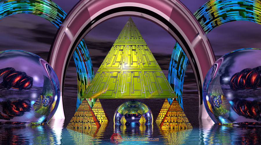 Pyramids Spirals Orbs by PhoenixArisen