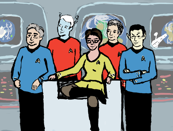 the Pundit Round Table in Star Trek Original series uniforms, posed around Captain Maddow in a miniskirt in the Captain's chair on the bridge of a starship.