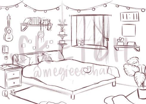 bedroom interior sketch
