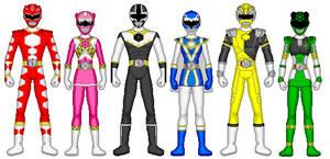 Commission- Power Rangers Hexagon Core Six