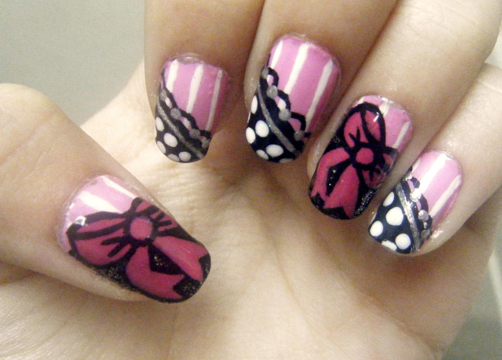 Cute bow/lace nail art! by Pizza-Is-Yum on DeviantArt