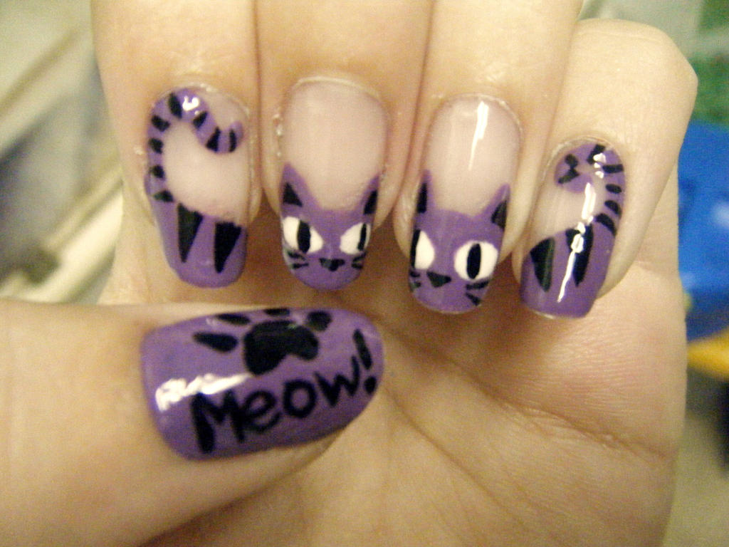 Purple Cat French Nail Art by Pizza-Is-Yum on DeviantArt