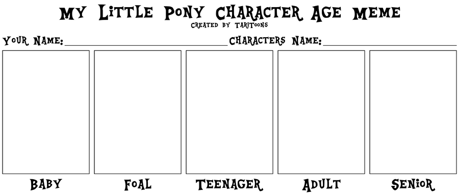 my little pony character age meme by taritoons on deviantart
