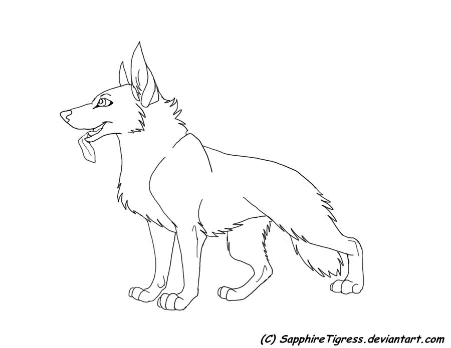 german shepherd lineart by sapphiretigress - German Shepherd Coloring Pages Free 3