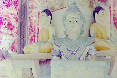 Dual Buddhas at Phnom Suntuk, Cambodia by vanfoto