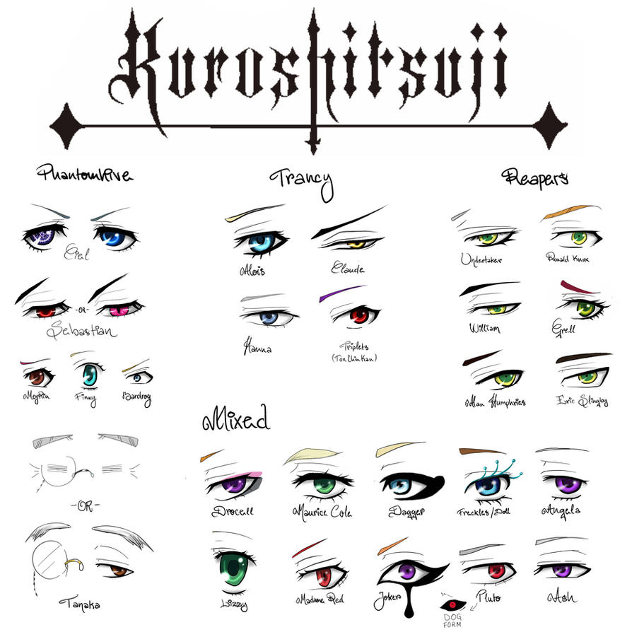 KUROSHITSUJI EYE CHART by Lily-Draws